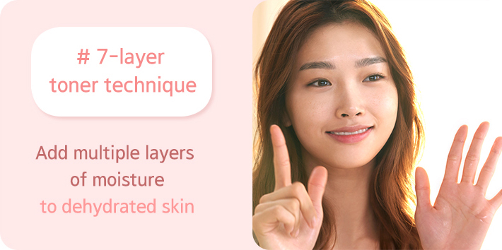 #7-layer toner technique Add multiple layers of moisture to dehydrated skin